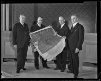 William H. Waste, Emmet Seawell and 2 other judges review building plans, 1934