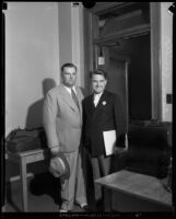 Roy Waktins, of the Angelus Temple, and David Hutton, husband of evangalist Aimee Semple McPherson, Los Angeles, 1932