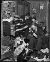 Police search for fingerprints in the apartment of murder victim Amanda E. Watson, Los Angeles, 1935