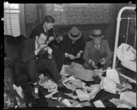 Police search for evidence in the apartment of murder victim Amanda E. Watson, Los Angeles, 1935