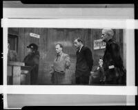 Three men arrested for allegedly killing landlady Amanda E. Watson, Los Angeles, 1935