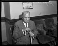 Joseph H. Watson at the courthouse for an alimony hearing, Downey, 1935