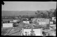 Booths damaged by a wind storm at the annual Orange Show, San Bernardino, 1924