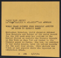 Press release about the visit of swimmer Mariechen Wehselau to Los Angeles, 1924