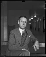Attorney Olin Wellborn III waiting to testify before the Los Angeles County Grand Jury, Los Angeles, 1933