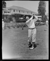 Amateur golfer Harry Wesbrook in front of the Los Angeles Country Club, 1926-1939