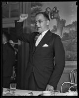 E. Richard West, president of the Junior Chamber of Commerce, speaks at a meeting, probably at the Biltmore Los Angeles, 1934