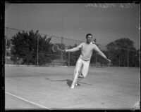 Ned Wheldon plays tennis at the Griffith Park Tennis Club, Los Angeles, 1933