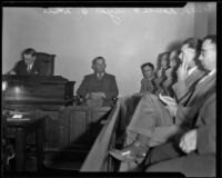 Man testifies at the inquest into the death of Clyde White during a glider accident, Costa Mesa, 1931