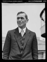 Captain William Verleger on board the Matson liner Lurline, arriving from an expedition to Antarctica, Los Angeles, 1934