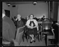 Accused murderer Vera Verrill at the coroner's inquest into the death of her mother-in-law, Los Angeles, 1934