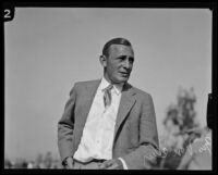 Portrait of golfer George Von Elm taken at the Wilshire Country Club, circa 1924-1938