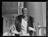 Actress Baroness Else von Koczian aboard an unidentified ocean liner, 1927-1939