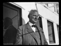 Dr. Stefan Petz von Lichtenhof, Hungarian judge, aboard a ship during a stop over, San Pedro, 1930