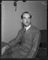 Artist Baron Kurt Ferdinand von Pantz during a visit, Los Angeles, 1932