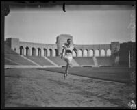 German Otto Peltzer trains on the track at the Coliseum, Los Angeles, 1928