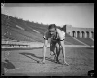 German track star Otto Peltzer practices starts at the Los Angeles Memorial Coliseum, 1928