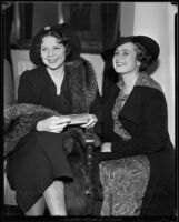 Baroness Emily Von Romberg and Toni Merritt collect Baron Max Von Romberg, Santa Barbara, 1935