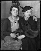 Mrs. Vremsak and Mrs. McKinney, wives of men who were kidnapped by bandits, Los Angeles, 1935