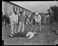Film magnates Leo F. Forbstein, Hal Wallis, W. M. Koenig, Sam Bischoff, and Herman Politz engage in some reckless golfing, Los Angeles, 1934