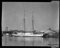 Ship where Captain Walter Wanderwell's body was found, Long Beach, 1932