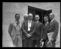 Professor H. C. Willett, Dr. Robert A. Millikan, Dr. Willis Gregg, Lieut. T. J. O'Brien, Dr. Theodore Von Karman, and Capt. A. H. Thiessen gather at conference, Pasadena, 1934