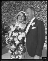 Actress Carmelita Geraghty and screenwriter Carey Wilson on their wedding day, Beverly Hills, 1934