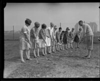 Girls receiving golf lessons at the Wilshire Country Club, Los Angeles, 1927