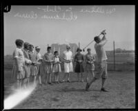 Girls with their golf instructor at the Wilshire Country Club, Los Angeles, 1927
