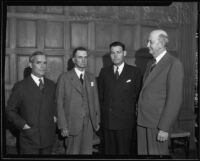 P. G. Winnett, John F. Craig, Hubert M. Walker, and James H. Burke attend a State Chamber of Commerce meeting, Los Angeles, 1934
