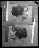A comparison of the side profiles of Aimee Semple McPherson and Lorraine Wiseman, Los Angeles, 1926