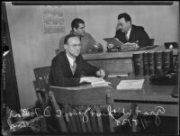 Grant Withers in court with Judge Cecil D. Holland and court reporter James Morris, Beverly Hills, 1935