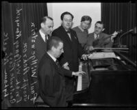Amputee Paul Wittgenstein plays piano for Joseph Achron, Erich Wolfgang Korngold, Getrude Ross, and Lyham Noack, Los Angeles, 1934