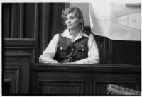 Aloha Wanderwell testifies at the witness stand, Los Angeles, 1933