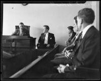 Harold E. Wolcott on trial for the murder of Helen Bendowski, Pasadena, 1933