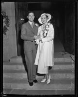 Newlyweds Lyle E. Womack and Louise Tucker Womack on their wedding day at Wee Kirk O' the Heather, Glendale, 1933