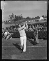 Golfer Craig Wood swinging his club, Los Angeles, 1930s
