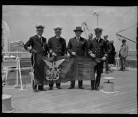 Presentation of Naval Reserve flag to Capt. William R. Meyer by Capt. Alonzo H. Woodbine, Los Angeles Harbor, 1932
