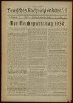 """Deutsches Nachrichtenbüro. 3 Jahrg., 1936 September 8, Sonder-Ausgabe Nr. 1: """"Der Reichsparteitag 1936"""""""