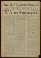 """Deutsches Nachrichtenbüro. 3 Jahrg., 1936 September 10, Sonder-Ausgabe Nr. 10: """"Parteitag der Ehre"""""""