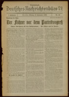 """Deutsches Nachrichtenbüro. 3 Jahrg., 1936 September 14, Sonder-Ausgabe Nr. 52: """"Parteitag der Ehre"""""""