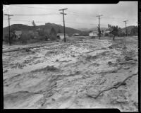 Mud deposited in a street by a catastrophic flood and mudslide, La Crescenta-Montrose, 1934