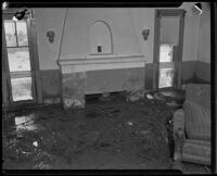 Living room filled with mud up to the window sills after a catastrophic flood and mudslide, La Crescenta-Montrose, 1934
