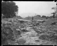 Storm runoff following a catastrophic flood and mudslide, La Crescenta-Montrose, 1934