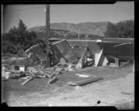 Debris from a building ruined by catastrophic flood and mudslide, La Crescenta-Montrose, 1934