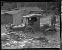 Truck trapped in mud after a flood in Little Santa Anita Canyon, Sierra Madre, 1926