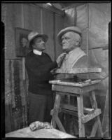 Sculptor Arnold Foerster working on a bust sculpture of Richard Wagner, Glendale, 1933