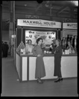 Olive Lucas and Ruth Williamson sample Maxwell House Coffee at the General Foods exhibit at the Food and Household Show, Los Angeles, 1932