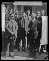 Henry Ford, his attorney William J. Cameron, and Harry Dunn with several unidentified men, Detroit, 1927