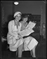 Betty Furness and Phyllis Fraser with newly approved contracts, Los Angeles, 1932